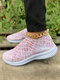 Plus Size Breathable Printing Women White Mesh Sneakers - Pink 1