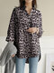 Leopard Printed Long Sleeve Stand Collar Asymmetrical Blouse For Women - Gray