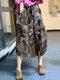 Ethnic Pattern Print Drawstring Waist Vintage Front Pocket Skirts - #03