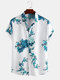 Mens Chinese Style Porcelain Floral Printed Short Sleeve Turn Down Collar Casual Shirt - Lake Blue