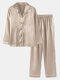 Plus Size Women Faux Silk Lapel Chest Pocket Long Pajamas Sets With Contrast Binding - Champagne