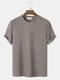 Mens Plain Texture Knitted Waffle Short Sleeve T-Shirt - Khaki