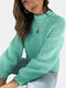 Solid Color Patchwork Long Sleeve Half-collar Sweater - Blue