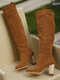 Women Slip On Solid Color Simple Elegant Casual Knee High Boots - Brown