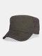 पुरुष कपास रेट्रो आउटडोर आकस्मिक सांस सैन्य टोपी पीक टोपी फ्लैट टोपी - भूरा