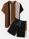 Mens Knitted Contrasting Color Stitching Short Sleeve Two Pieces Outfits - Brown