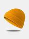Bonnet unisexe en laine tricoté de couleur unie Casquettes de crâne Bonnets sans bord - Jaune terre