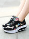 Women Round Toe Flowers Printed Lace Up Rocker Sole Running Shoes - Black