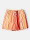 Lightweight Orange Vertical Striped Shorts Mesh Lining Quick Dry Swim Trunks For Men - Orange