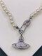 Luxury Full Diamond Shiny Saturn Women Necklace Crystal Pearl Saturn Pendant Necklace - #04