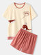 Women Cute Different Print Crew Neck Cotton Comfy Pajamas Sets With Shorts - Beige