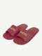 Women Casual Comfortable Letter Pattern Argyle Flat Slides Slippers - Wine Red