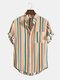 Mens Ethnic Multi Color Striped Casual Round Hem Pocket Shirts - Yellow