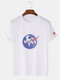Mens 100% Cotton Spaceman Printed Short Sleeve Graphic T-Shirt - White