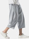 Mens Cotton Linen Chinese Style Loose Drawstring Cropped Pants - Gray