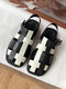 Women Casual Black And White Stitched Weaving Hollow-out Fisherman's Sandals - Black&white