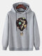 Mens Hot Air Balloon Graphic Print Cotton Relaxed Fit Drawstring Pullover Hoodies - Grey