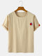 Mens Embroidered Solid Color Loose Light Round Neck Casual T-Shirts - Khaki
