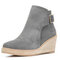 Women Solid Buckle Strap Wedges Ankle Boots - Gray