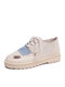 Color Block Patchwork Lace-up Loafers Outfit Women's Stitching Comfy Flats - Beige