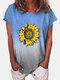 Floral Printed Ombre O-neck Short Sleeve T-shirt - Blue