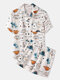 Cute Dinosaur Cartoon Print Loungewear Sets Two Pieces Summer Loose Cozy Suits for Men - White