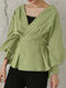 Solid V-neck Lantern Long Sleeve Knotted Loose Women Blouse - Green