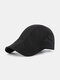 Men Polyester Solid Color Mesh Breathable Outdoor Sunshade Berets Flat Caps - Black