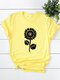 Floral Printed O-neck Short Sleeve T-shirt - Yellow