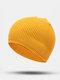 ユニセックスポリエステルコットンニットソリッドレタークロスラベルオールマッチ暖かさビーニーハット - 黄