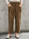 Solid Color Corduroy Elastic Waist Pants With Pocket - Coffee