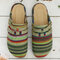 Women Casual Comfy Colorful Stripe Large Round Toe Backless Flats - #02