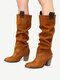 Plus Size Women Casual Solid Stitching Chunky Heel Slip On Riding Boots - Brown