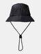 ユニセックスレトロソリッドヒップホップサンシェード調節可能な巾着バケットハット - 黒