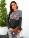 Leopard Striped Print Patchwork O-neck Long Sleeves Casual Tops - Gray