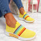 Plus Size Women Rainbow Stripe Knitted Breathable Casual Walking Shoes - Yellow
