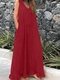 Ruffled V-neck Sleeveless Solid Color Plus Size Dress - Red