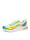 Plus Size Women Casual Knitted Colorful Lace Up Running Sneakers - White