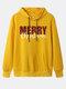女性のクリスマスレタープリントカジュアルパーカーポケット付き - 黄