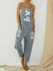 Daisy Flower Print Straps Pockets Casual Jumpsuit For Women - Light Grey