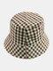Women & Men Plaid Pattern Retro Port Style Windproof Soft All-match Travel Bucket Hat - #10