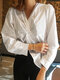 Solid Color V-neck Twisted Long Sleeve Blouse - White