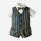 Boy's Fake Two Pieces Striped Waistcoat T-shirt +Pants Formal Suit For 1-8Y - Striped
