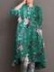 Floral Print Half-collar Casual Dresses for Women - Green