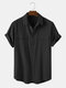 Men 100% Cotton Solid Color Double Pocket Casual Shirt - Black
