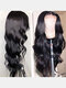 Black Front Lace Middle Part Long Curly Hair Chemical Fiber Head Cover Wig - Black