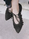 Women Pointed Toe Tassel Flowers Lace Up Casual Comfortable Ballet Flats - Black