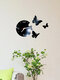 Acrylic Mirror Stickers Wall Clock Modern Design Fairy Butterfly 3D DIY Duvar Saati Clocks For Girl Gift Living Room Home Decor - Black