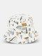 Unisex Cotton Double-sided Wearable Sailboat Graffiti Pattern Outdoor Sunshade Bucket Hat - White