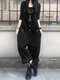 Solid Color Button Pocket Sleeveless Casual Corduroy Jumpsuit for Women - Black